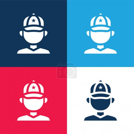 Baseball Player blue and red four color minimal icon set