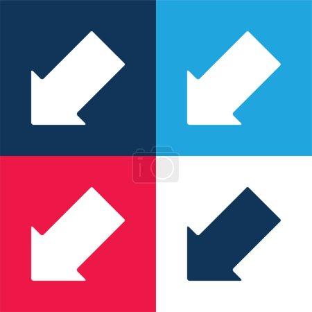 Illustration pour Flèche pointant vers le bas Ensemble d'icônes minimal quatre couleurs bleu et rouge - image libre de droit