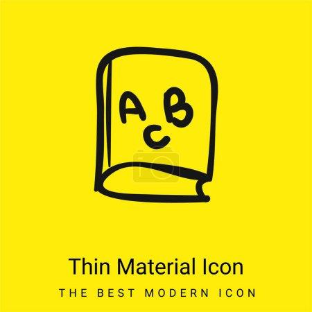 Illustration pour ABC livre éducatif minimale icône matériau jaune vif - image libre de droit