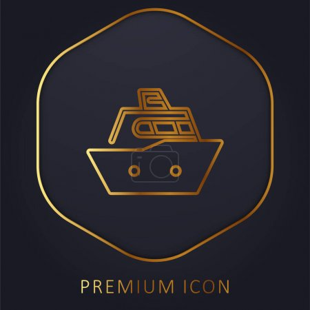 Photo pour Bateau ligne d'or logo premium ou icône - image libre de droit
