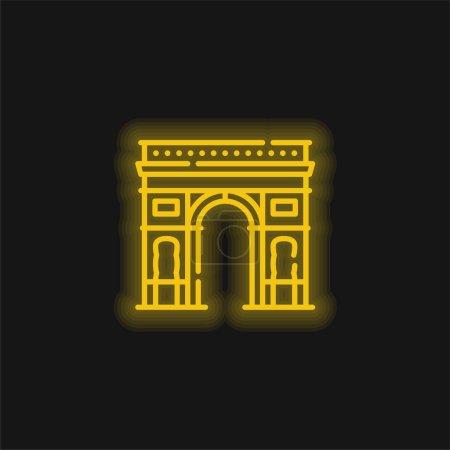 Arco del Triunfo amarillo brillante icono de neón