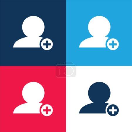 Illustration pour Ajouter des personnes Symbole d'interface de la personne noire Gros plan avec plus signe en petit cercle bleu et rouge ensemble d'icônes minimales de quatre couleurs - image libre de droit