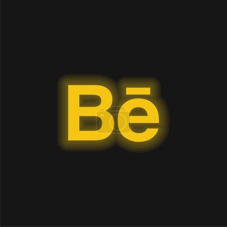 Behance yellow glowing neon icon...