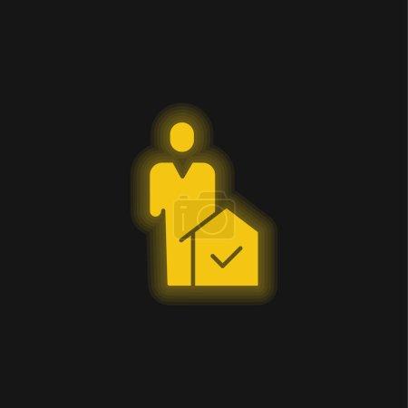 Photo pour Agent jaune brillant icône néon - image libre de droit