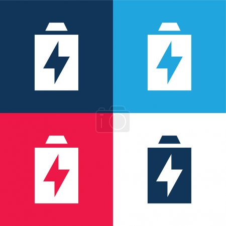 Illustration for Battery blue and red four color minimal icon set - Royalty Free Image