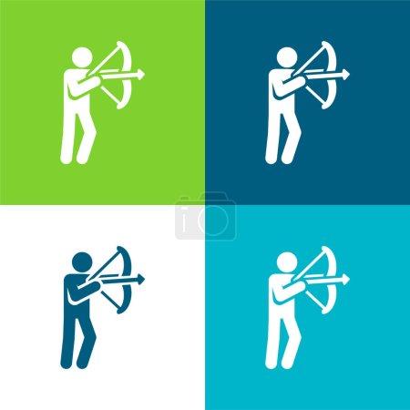 Photo pour Ensemble d'icônes minimal Archer Flat quatre couleurs - image libre de droit