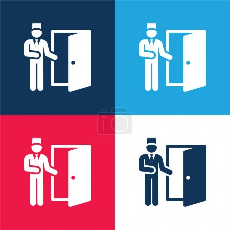 Illustration for Bell Boy blue and red four color minimal icon set - Royalty Free Image