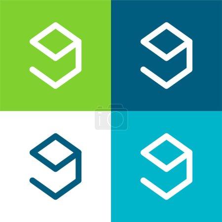 9gag Logo Flat four color minimal icon set