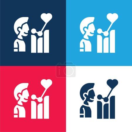 Photo pour Ensemble d'icônes minime bleu et rouge affectif - image libre de droit