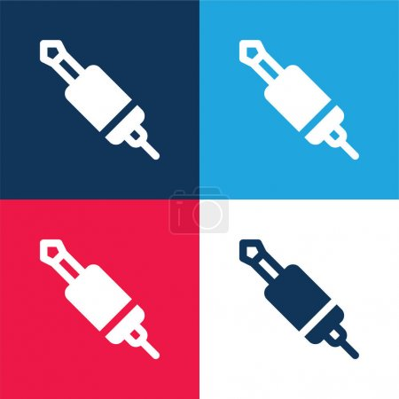Illustration for Audio Jack blue and red four color minimal icon set - Royalty Free Image