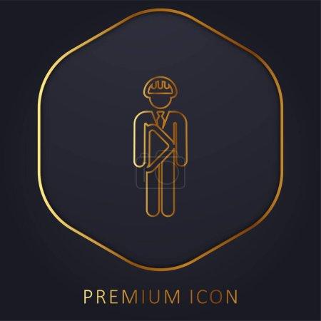 Illustration pour Architecte ligne d'or logo premium ou icône - image libre de droit