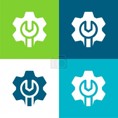 Illustration for Admin Flat four color minimal icon set - Royalty Free Image