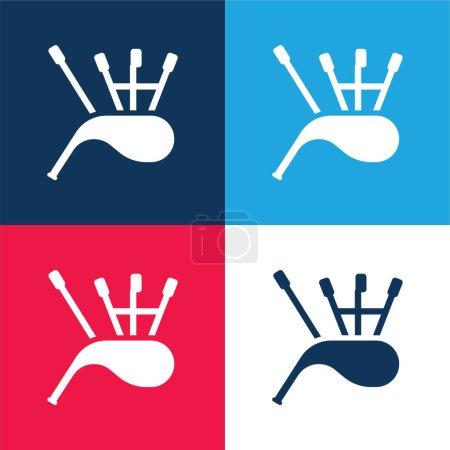 Illustration pour Ensemble d'icônes minimales quatre couleurs bleu et rouge cornemuses - image libre de droit
