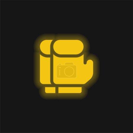 Photo pour Gants de boxe jaune brillant icône néon - image libre de droit