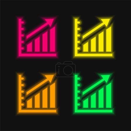 Illustration pour Statistiques ascendantes Graphique quatre couleurs brillant icône vectorielle néon - image libre de droit