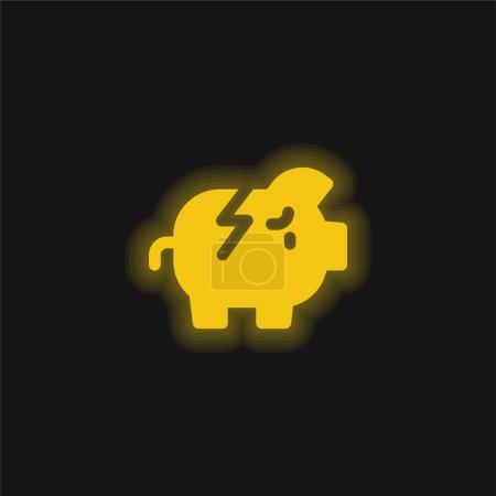 Bankrupt yellow glowing neon icon