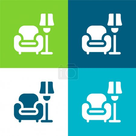 Illustration for Armchair Flat four color minimal icon set - Royalty Free Image