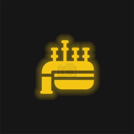 Illustration for Bagpipe yellow glowing neon icon - Royalty Free Image