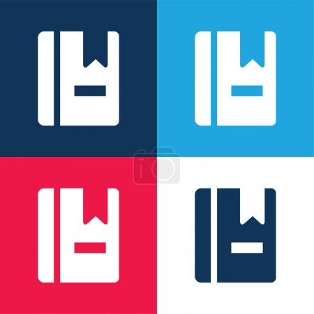Book With Marker blue and red four color minimal icon set