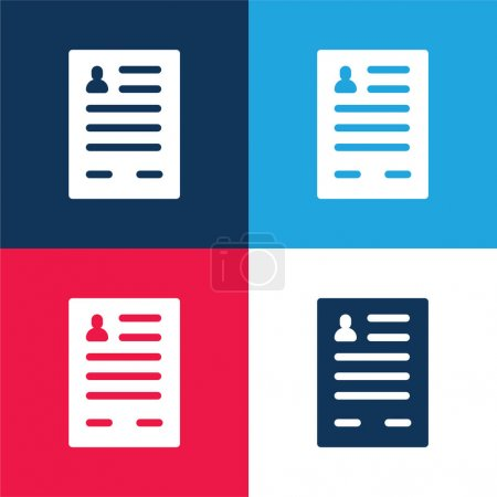 Application Form blue and red four color minimal icon set