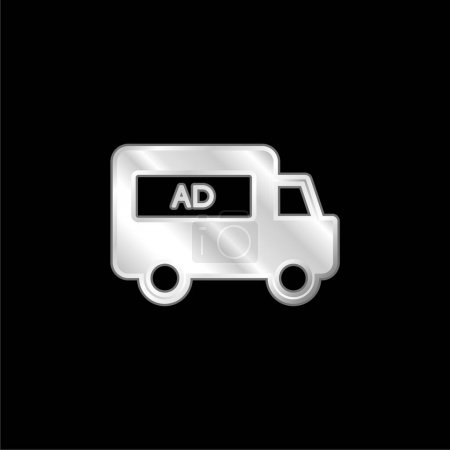 Illustration for AD Van silver plated metallic icon - Royalty Free Image