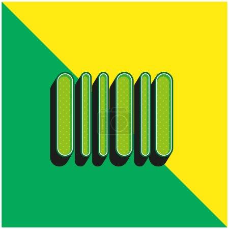 Illustration pour Code à barres Logo vectoriel 3d moderne vert et jaune - image libre de droit