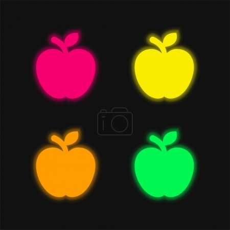 Apple Fruit four color glowing neon vector icon