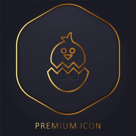 Photo for Boken Egg With Chicken golden line premium logo or icon - Royalty Free Image
