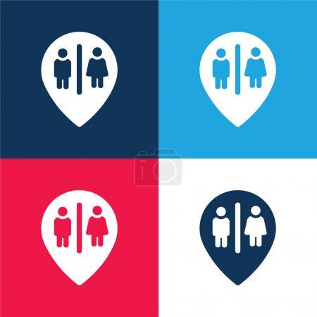 Bains Marker Point bleu et rouge quatre couleurs minimum jeu d'icônes
