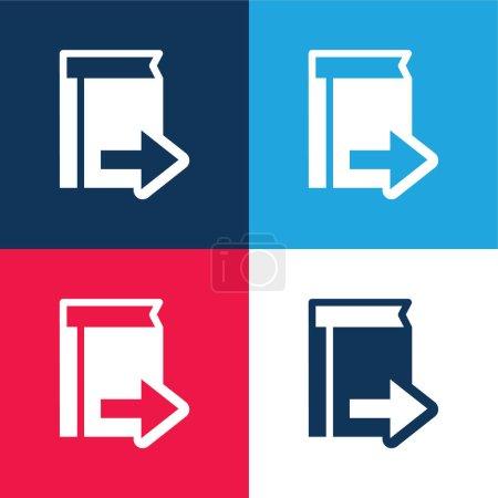 Símbolo de libro con flecha derecha azul y rojo conjunto de iconos mínimo de cuatro colores