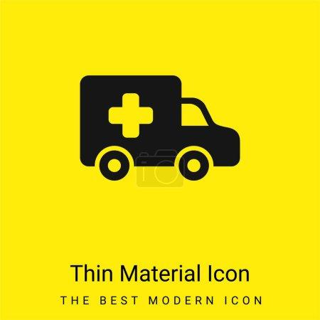 Illustration pour Ambulance Side View icône minimale de matériau jaune vif - image libre de droit