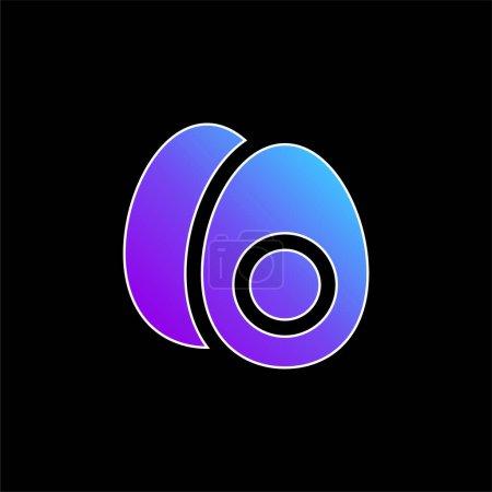 Illustration pour Oeuf bouilli bleu dégradé icône vectorielle - image libre de droit