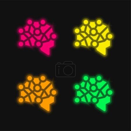 Illustration pour Cerveau quatre couleurs brillant icône vectorielle néon - image libre de droit