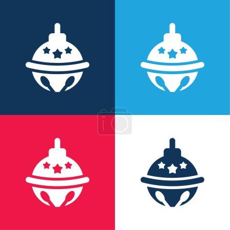 Illustration pour Ensemble d'icônes minimales Bauble bleu et rouge à quatre couleurs - image libre de droit