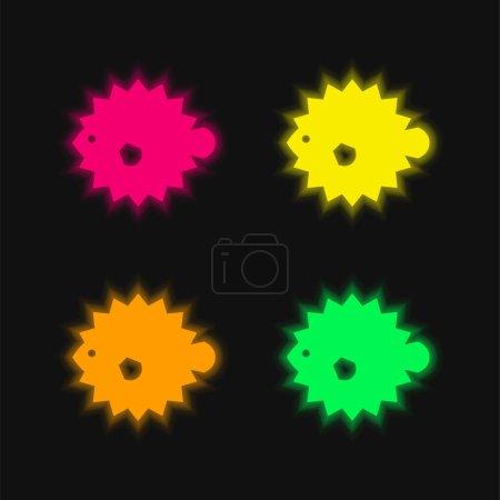 Illustration pour Icône vectorielle néon éclatante à quatre couleurs Blowfish - image libre de droit