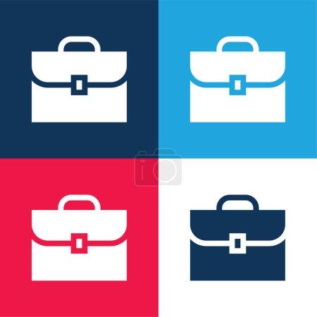 Illustration pour Porte-documents bleu et rouge quatre couleurs minimum jeu d'icônes - image libre de droit