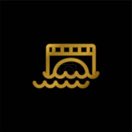 Illustration pour Pont sur l'eau plaqué or icône métallique ou logo vecteur - image libre de droit