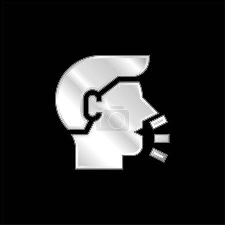 Illustration pour Icône métallique plaqué argent respirant - image libre de droit