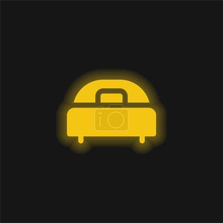 Illustration pour Lit jaune brillant icône néon - image libre de droit