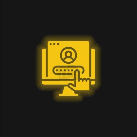 Illustration pour Compte jaune brillant icône néon - image libre de droit