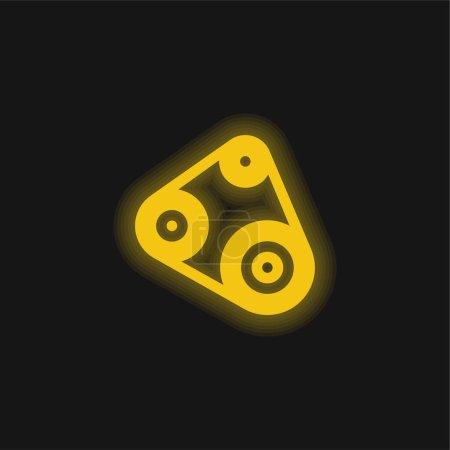 Illustration pour Ceinture jaune brillant icône néon - image libre de droit
