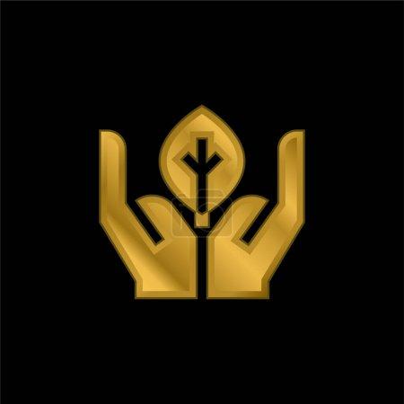Biologie vergoldet metallisches Symbol oder Logo-Vektor