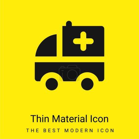 Illustration pour Ambulance minime jaune vif icône matérielle - image libre de droit