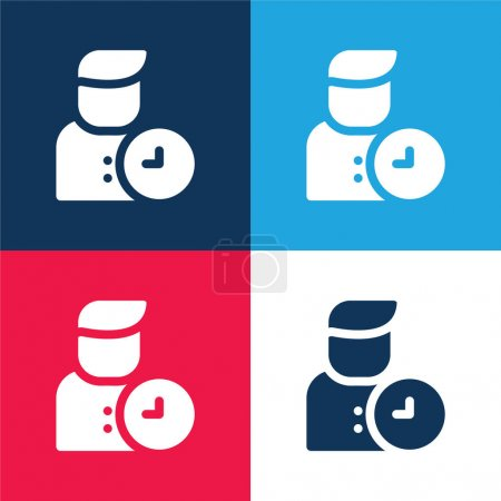 Illustration for Appointment blue and red four color minimal icon set - Royalty Free Image