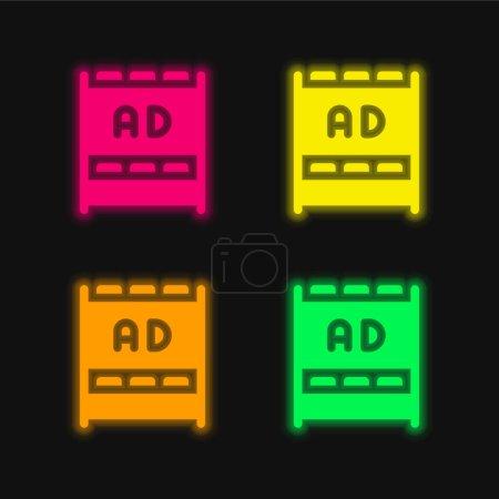 Illustration pour Annonces quatre couleur brillant néon vecteur icône - image libre de droit