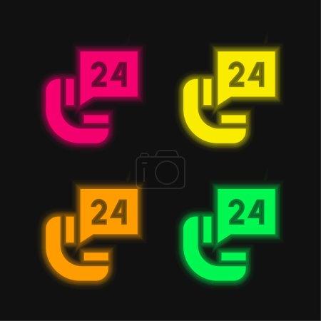 Illustration pour 24 Heures quatre couleur brillant icône vectorielle néon - image libre de droit