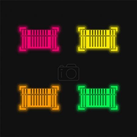 Illustration pour Code à barres quatre couleur brillant icône vectorielle néon - image libre de droit