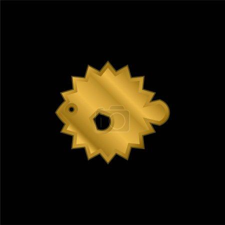 Illustration pour Icône métallique plaqué or Blowfish ou vecteur de logo - image libre de droit