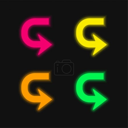 Illustration for Arrow In U Shape To Turn four color glowing neon vector icon - Royalty Free Image
