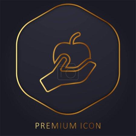 Illustration pour Ligne d'or Apple logo premium ou icône - image libre de droit